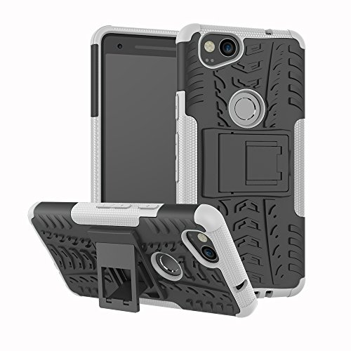 Google Pixel 2 Case, Ankoe Heavy Duty Hybrid Slim Dual Layer Rugged Rubber Hybrid Hard/Soft Impact Armor Defender Shockproof Protective Case with Kickstand for Google Pixel 2 2017 Release (White)