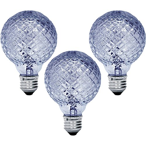 GE Lighting 40-Watt 390-Lumen G25 Faceted Cut Glass Light Bulb with Medium Base (3 Bulbs) ()
