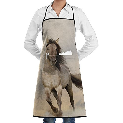 ZhiqianDF Animal Wild Young Stallion Horse Running At Sunset Male Power Nake Muscular Physique Nobility Funny Grilling Black One Size Apron With Pockets - Nakes Women Hot