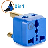 Yubi Power 2 in 1 Universal Travel Adapter with 2 Universal Outlets - Built in Surge Protector - Blue - Type M for South Africa, Lesotho, Mozambique, Namibia, Nepal and more!