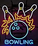iecool Bowling Neon Sign 17''x14'' Real Glass Bright Neon Light for Bowling Game Room Bar
