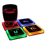 ThinkGeek Radioactive Elements Glowing Coaster Set - Radium, Plutonium, Uranium, and Thorium - Set of 4
