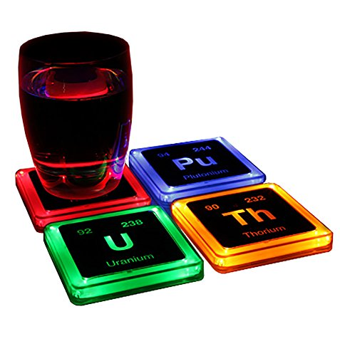 ThinkGeek Radioactive Elements Glowing Coaster Set - Radium, Plutonium, Uranium, and Thorium - Set of 4