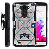 TurtleArmor | Compatible for LG G Vista Case | LG G Pro 2 Lite Case [Hyper Shock] Armor Rugged Solid Hybrid Cover Stand Impact Rubber Holster Belt Clip Gaming Design - Blue Controllers