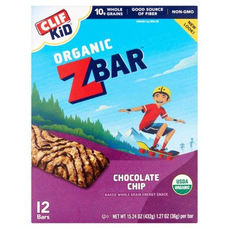 Clif Kid Z Bar Organic Energy Bar Chocolate Chip, 12 Count