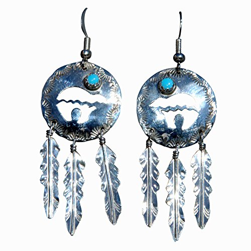 Bear & 3 Feathers Turquoise St. Silver Genuine Handcrafted Navajo Jewelry Concha Earrings - Medium Size