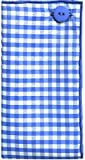 Blue & White Gingham Check w/ Blue Button Mens Pocket Square by The Detailed Male