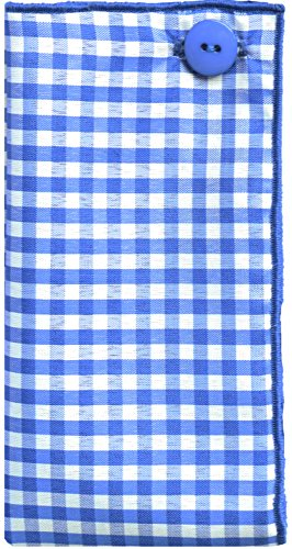 Blue & White Gingham Check w/ Blue Button Mens Pocket Square by The Detailed Male by The Detailed Male (Image #4)