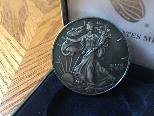 2016 AMERICAN SILVER EAGLE 1 oz Pure Silver Coin ANTIQUE FINISH $1 Mint State