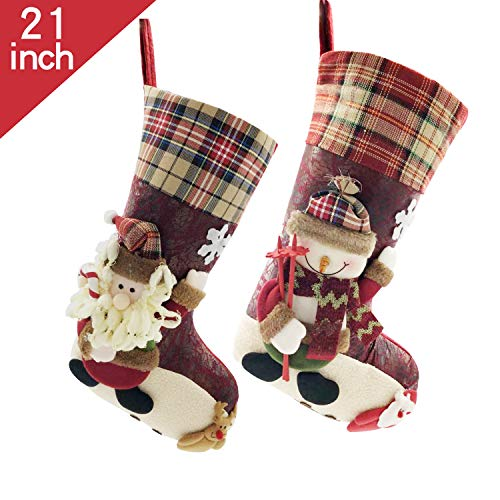 Plaid Christmas Stockings Set of 2 for Family, 21 inch Felt Large Plush 3D Reindeer Santa Claus Snowman Snowflake Design Hanging Bags, Socks - Holiday Kids Gift for Decor Xmas Tree,Mantel (Red)