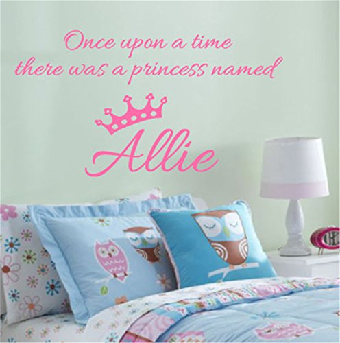 siyjl Room Wall Decor Stickers Once Upon A Time Princess Name Personalized Crown Girl Child Baby Nursery Bedroom Home Decor Peel and Stick Removable Wall Stickers for Kids Nursery Bedroom Living Room ()