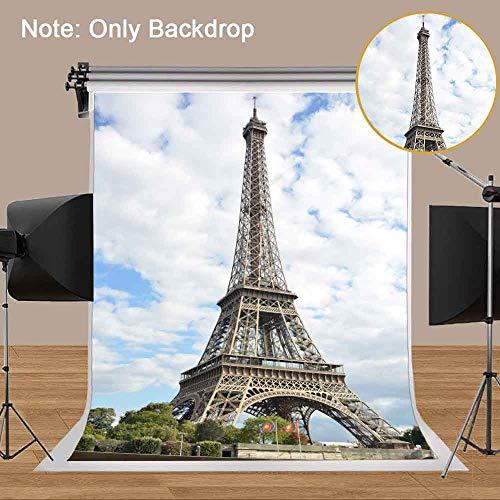 MEETS 5x7ft City Landmark Backdrop Paris Eiffel Tower Background Photo Booth Studio Props Theme Party YouTube Backdrop MT424 -