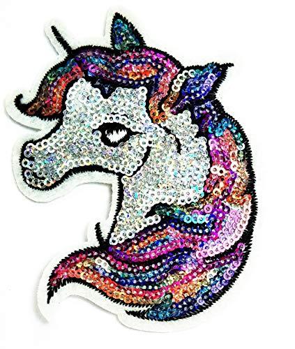 Nipitshop Patches Fashion Head Unicorn Horse Sequin Shine Shiny Movie Comics Cartoon Logo Kid Baby Jacket T Shirt Patch Sew Iron on Embroidered Symbol Badge Cloth Sign Costume