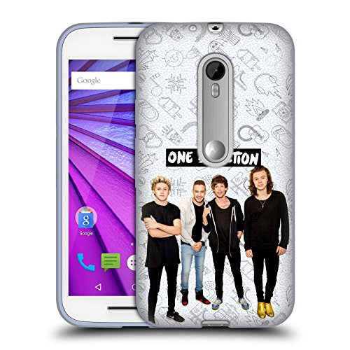 Official One Direction White Group Icon Soft Gel Case for Motorola Moto G (3rd Gen) (Moto G One Direction Cases compare prices)