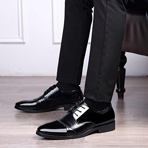 Black Simple Dress en Verni Pointu Chaussures Shiney Cuir Automne Chaussures Nouvelles Business Hommes wxSXfq7