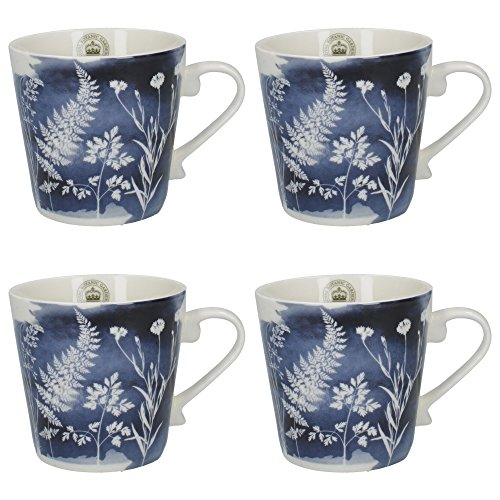 CreativeTops Royal Botanic Gardens, Kew 'Watercolour Meadow' Conical Floral-Printed Fine China Mugs, 350 ml (12.5 fl oz) - Navy Blue (Set of 4) ()