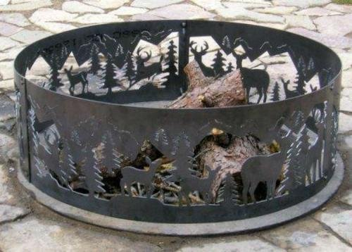 Outdoor Campfire Fire Ring w Whitetail Deer Design (48 in. Dia.) by P&D Metal Works