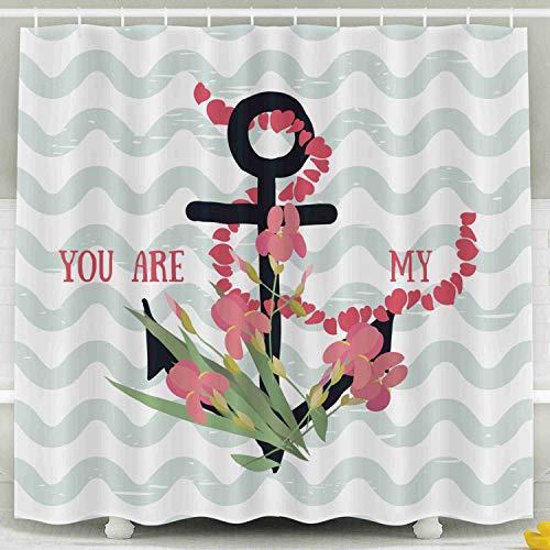 (Shorping 78x72 Shower Curtain,Kids Shower Curtain, Background Flowers Iris Anchor Waterproof Decor Bathroom Set with Hooks)