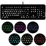 Macally 7 Color Backlit USB Keyboard (Large Print LED Lights/Illuminated Big Keys) Full Size Wired with Number Keypad for Apple Mac Pro iMac Mac Mini Desktops & MacBook Pro Air Laptop Computers