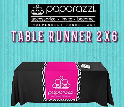 Paparazzi Table Runner - Zebra Stripe Pattern Background Logo Imprint - Size 2ft x 6ft from MansiPrintShop.com Inc