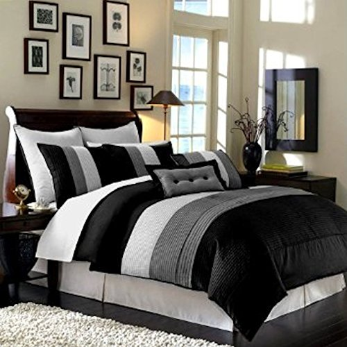 (Legacy Decor 8 Pieces Black White Grey Luxury Stripe Comforter (104