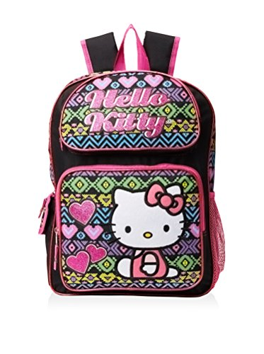 Hello Kitty Girl's Patchwork Hearts Black Backpack, Multi ()