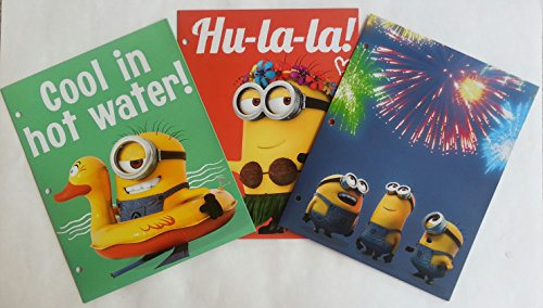 Despicable Me 2 Minions - Two Pocket Folders for School - Set of 3 Assorted Portfolio File Folders for Organization - Fun School Supplies for Kids]()