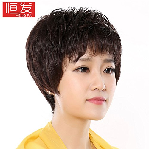 Head hair piece head piece head replacement real hair wig Girls elderly roll sheet replacement block replacement top