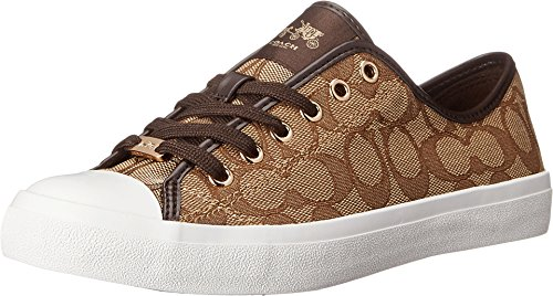 Coach Womens Empire Outline Sneaker Khaki Chestnut Size 6