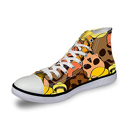 FOR U DESIGNS Fashion Yellow High Top Canvas Skull Sneaker Shoes for Men Laces US 12