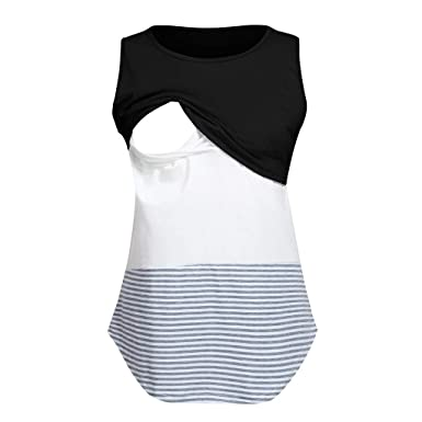 Women Maternity Nursing Vest Tank Pregnant Stripe Sleeveless Tops T Shirt Blouse