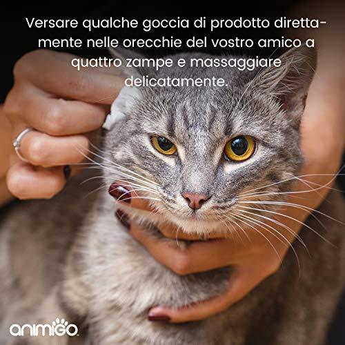 Animigo Limpiador de Oídos para Gatos y Perros | Limpiador Higiénico en Gotas para Limpiar Oídos y Orejas | Sin Alcohol y No Irritante | Aceite de ...