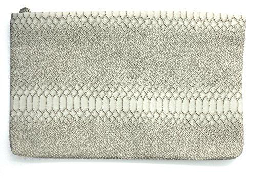 textura mano color en serpiente escamada Snake bolso blanco Clutch de cremallera ligero de cierre roto con con White wFqxIvY