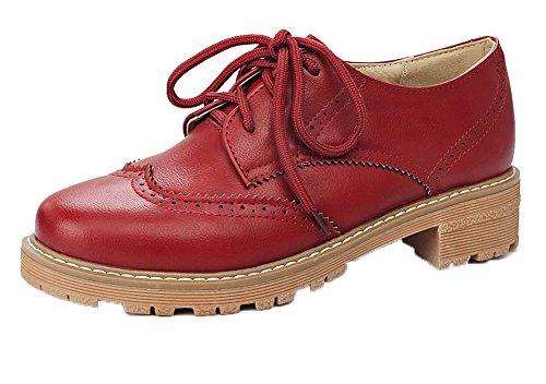 VogueZone009 Damen PU Leder Rein Schnüren Rund Zehe Niedriger Absatz Pumps Schuhe Rot