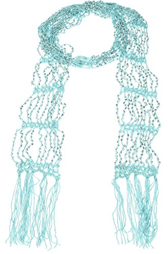 (Hand By Hand Aprileo Women's Scarf Seed Bead Long Thin Lightweight Belt Wrap [Mint](One Size))