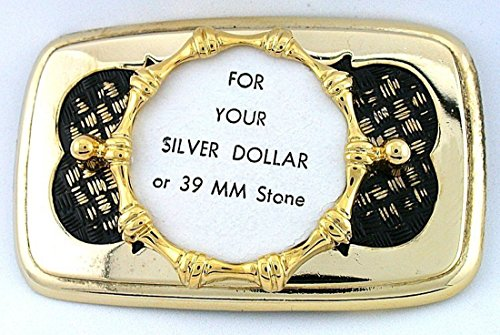 Silver Dollar 39mm Cabochon Gold Plated Goldplated Weave Belt Buckle Mounting CF922 (Dollar Buckle)