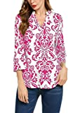 Hount Womans Blouse Casual Long Sleeve Top T-Shirt (X-Large, Red)