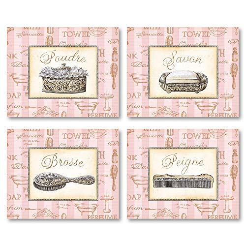 Gango Home Decor Beaute Feminine I Lovely, Pink, French Comb, Brush, Soap and Powder; Four 10X8 Poster Prints ()