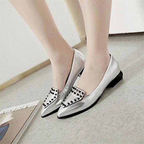 talón bajo zapatos el puntiagudos casual grandes silvery patios femenino solo Remaches calzado Xwq0HH