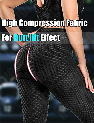 RIOJOY Women's High Waist Tummy Control Yoga Pants Scrunch Booty Leggings Butt Lift Textured Workout Tights