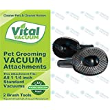 """2 Vacuum Cleaner Pet Grooming Groomer Attachments Fit All Standard 1 1/4"""" Vacuums; Perfect for Large Dogs & Cats - Unwanted Pet Hair Goes Into Your Vacuum Cleaner Before it Has a Chance to Settle Around your Home"""