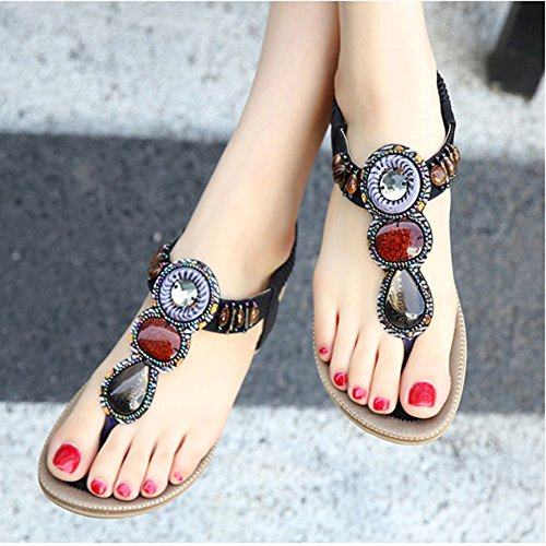 Mujer Plana Bohemia Sandalias Talla Grande Chancletas Zapatos de la playa Verano Negro