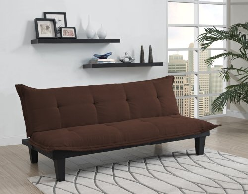 DHP Lodge Convertible Futon Couch Bed with Microfiber Upholstery and Wood Legs, Brown (Bedroom Futon Frame Modern)
