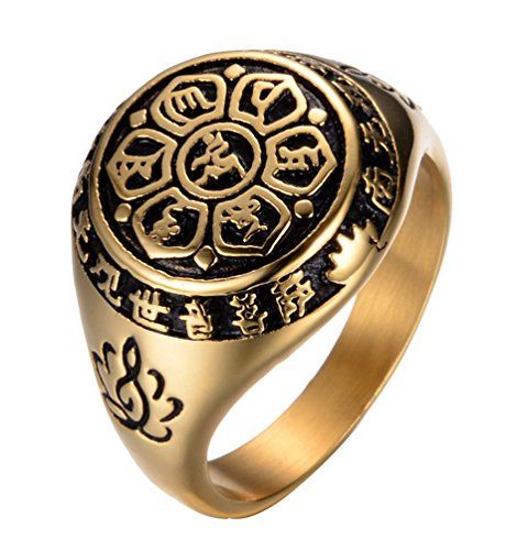 (Rinspyre Men's Exorcism Protection Stainless Steel Ring Holy Frame Om Mani Padme Hum Buddhist Prayer Band Gold Size)