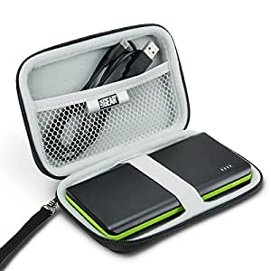 Hard Shell Portable Power Bank Carrying Case by USA Gear - Works with Anker PowerCore 10000 , Jackery Bar , RAVPower RP-PB19(B) and More Portable Power Banks