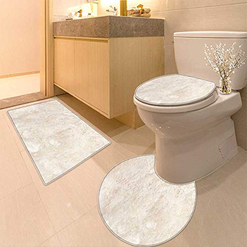 HuaWuhome 3 Piece Extended Bath mat Set Stone Italian Marble Warm Cream Increase