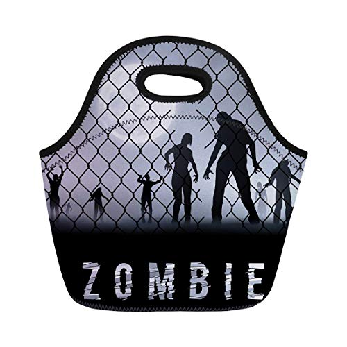 tanshui Lunch Tote Bag Arrest Zombie Walking at Night Silhouettes for Halloween Businessman Reusable Neoprene Insulated Thermal Outdoor Picnic Lunchbox for Men Women -