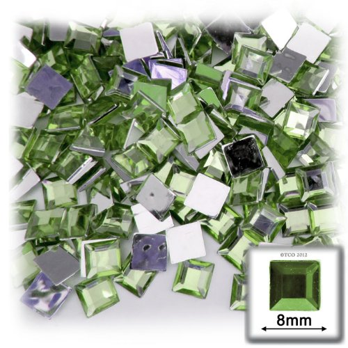 - The Crafts Outlet 144-Piece Square Rhinestones, 8mm, Peridot Light Green