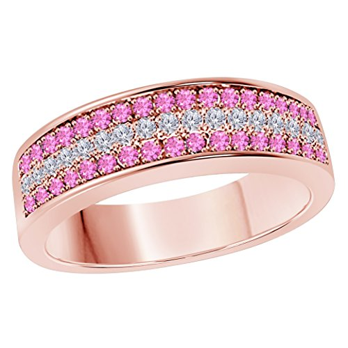 6MM 14K Rose Gold Finish .925 Silver Plated 0.50CT Pink Sapphire & White Cz Diamond Ring 3 Row Pave Half Eternity Men's Wedding Band Ring Size All Available by Star Retail