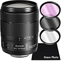 Canon EF-S 18-135mm f/3.5-5.6 Image Stabilization USM (Black) Zoom Lens Bundle for Canon DSLR Cameras (White Box)